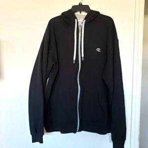 Champion Black Zip Hooded Jacket Size 2 XL